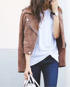 Camel leather jacket, white tee and jeans