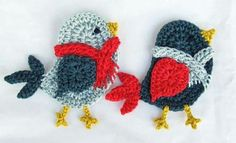 crocheted bluebirds