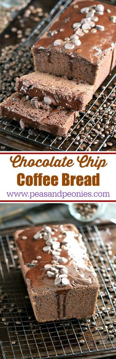 Chocolate Coffee Bread made with a mix of all purpose and coconut flour, loaded with chocolate chips and topped with melted chocolate. #OvernightCoffee #ad