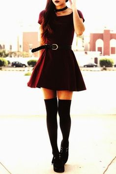 Claret red dress and