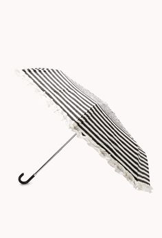 Black & White Striped Ruffle Umbrella | FOREVER21 PLUS - 1000076153