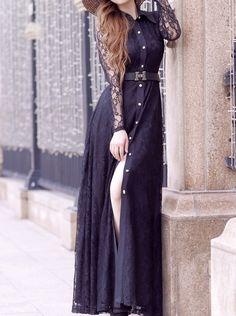 Buy Sexy Lace Lapel Maxi Dress/ Shirtwaist Dress Maxi Dresses under US$ 28.99 only in SimpleDress.