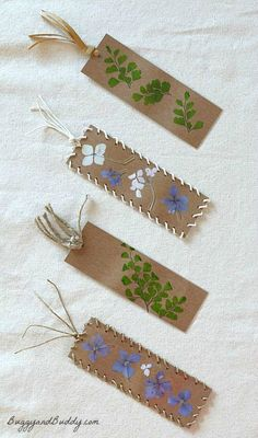Bookmark Craft for Kids Using Pressed Flowers and Leaves. I think I would use modpodge instead of a laminator. And would be neat with fall leaves using the same concept.