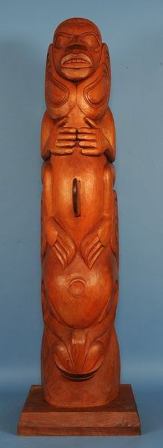 Clayton gladstone finely carved haida whale rider totem