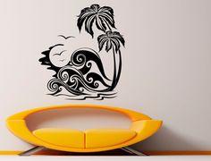 Palm Tree Wall Decal Vinyl Stickers Nature Beach Sea Housewares Art Interior Bedroom Removable Home Decor Vinyl Wall Decals, Wall Stickers, Nature Beach, Glass Ceramic, Tree Wall, Glass Door, Palm Trees, I Shop, Sea
