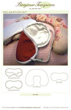 Relaxation Kit Printed Paper Sewing Pattern for Eye Pillow, Eye Mask & Neck Warmer
