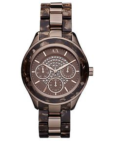 ax armani exchange watch womens brown-marbled