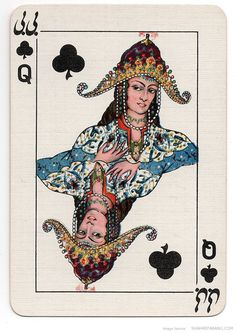 "farsizaban: "" Iranian Playing Cards, Queen Specially manufactured Playing Cards for the Iranian monopoly by Thos. De La Rue & CO Ltd. Designed by V. Playing Cards Art, Vintage Playing Cards, Persian Culture, Deck Of Cards, Tarot Cards, Dame, Illustration Art, History, Prints"