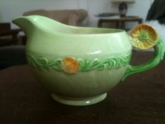 Vintage Hand Painted Green Carlton Ware Buttercup Creamer Stoke on Trent England Carlton Ware, Stoke On Trent, Buttercup, Garland, Hand Painted, Tea, Chocolate, Coffee, Floral