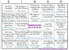 Hospitalist ICU Bingo Card.  See the other nurse ICU bingo card too!