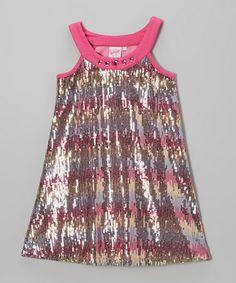 Another great find on #zulily! Pink Rainbow Sequin Yoke Dress - Toddler & Girls #zulilyfinds