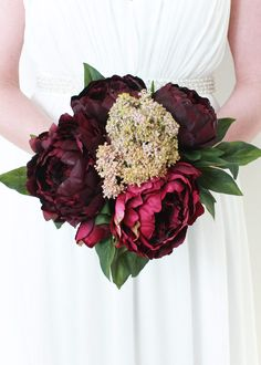"""Silk Peony Bouquet in Wine and Burgundy<br>12"""" Tall"""