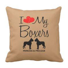 Custom I Love My Two Boxers Throw Pillow