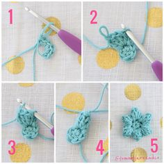 Steps 1-5 of the Pretty Puffy Square - find on RedAgape Blog - using DMC Natura Just Cotton