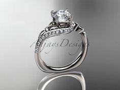 14kt white gold diamond leaf and vine wedding by anjaysdesigns