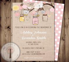 Engagement Party Invitation, Mason Jar Invitation, Bridal Shower Invitation, engagement shower, hanging jars, wedding shower, mason jars by T3DesignsCo on Etsy https://www.etsy.com/listing/181374661/engagement-party-invitation-mason-jar