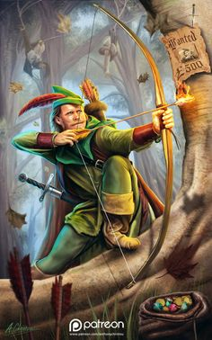Robin Hood Illustration, Anthony Christou on ArtStation at https://www.artstation.com/artwork/robin-hood-illustration