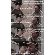 Walking Dad Jokes, Walking Dead Quotes, The Walking Dad, Carl Walking Dead, Walking Dead Coral, Rick Memes, Rick And Carl, Great Jokes, Funny Memes