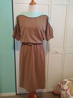 Leslie Fay Vintage Dress Brown Turquoise Career Dress Size 12 #LeslieFay