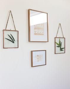Watercolor paintings and pressed faux leaves produce instant wall art!