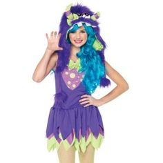 Teen Tween Girls Purple Green Cute Monster Halloween Costume - product - Product Review