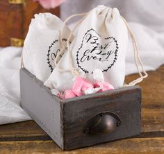 """These Rustic Vines Favor Bags are a great way to thank your guests for attending your wedding or special event.  These 100% cotton favor bags feature """"Best Day Ever"""" printed in black and can be filled with a special treat."""