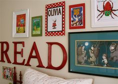 Kid's room.... Love the framed books idea. :)