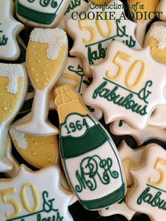 50 and Fabulous, champagne bottle & glasses Cookies
