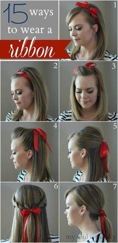 Some days I love the preppy simple look. A hair ribbon is just that. 15 Ways to Wear a Hair Ribbon Diy Hairstyles, Pretty Hairstyles, Hairstyles With Ribbon, Ribbon Hairstyle, Simple Hairstyles, Coiffure Hair, Hair Day, Gorgeous Hair, Hair Hacks
