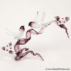 Murano Glass Birds on a Cherry Branch - Amethyst