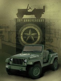 """75th Wrangler Salute, a one-off Jeep with the same bumpers found on the built-for-Egypt J8. It has got the Toledo plant's area code """"419"""" stenciled on the passenger's side. On the hood, taking the place of the original military identifier number, is today's date, representing 75 years since the U.S. government awarded Willys-Overland the contract to build the old World War Two Willys MB. #STOPPINGTHEWORLD #TeamR1 #R1Concepts #Jeep #75thBirthday #WW2 #Wrangler"""