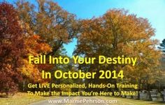 Fall Into Your Destiny in October 2014. Start impacting the lives you're here to reach and creating the revenue you deserve! Join me for one of my program creation, development and marketing hands-on training modules!
