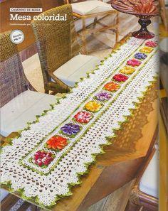 Crochet y dos agujas: Alegre camino de mesa al crochet