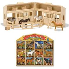 Amazon.com: Melissa & Doug Fold and Go Mini Stable with 12 Horse Pasture Pals Bundle: Toys & Games