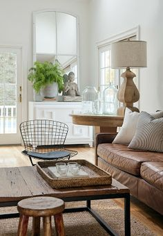 Modern-country family room of designer Kelly McGuill