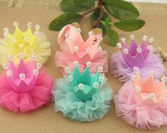 Chiffon Gauze Flower with Crown DIY Happy Party wholesale Flowers Hair Accessories Etc. Princess Crown Headband Pink Yellow Purple by KellyBowieDesign Items similar to Chiffon folded flowers Handmade Rose DIY hair bow supplies Hair Accessories craft flowe Flower Crown Headband, Diy Headband, Baby Headbands, Baby Hair Clips, Hair Bow Supplies, Lace Crowns, Diy Crown, Barrettes, Flower Hair Accessories