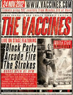 The Vaccines w/ Bloc Party, Arcade Fire & The Strokes - gig poster