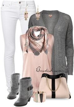 Soft pink and grey fall outfit. Not sure about the white pants but live the…