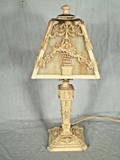 ANTIQUE ART DECO ART NOUVEAU STAINED SLAG GLASS LAMP WITH BASKET OF FLOWERS #ArtNouveau