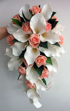 calla lily and rose bouquets for weddings | Wedding Bouquet - Ivory Latex Foam Calla Lily & Peach Rose Teardrop
