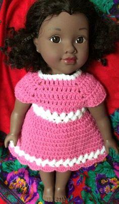 Handmade Crochet 16 to 18 inch Doll Dress/Preemie (1-3 lbs.) - Pink/White trim #Handmade #DressyEverydayHoliday