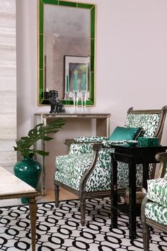 Rose Cumming leopard, Stark carpet, lav walls and emerald mirror - See more at: http://www.theenglishroom.biz/2012/12/13/lusting-for-lavender-and-emerald/#sthash.ufDJJJkr.dpuf
