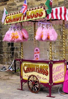 Traditional style Candy Floss Barrow serving freshly made Candy Floss, perfect for a village fete.
