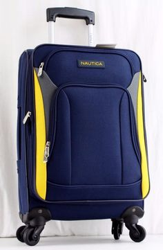 "NAUTICA OPEN SEAS 21"" NAVY YELLOW EXPANDABLE SPINNER CARRY ON SUITCASE USED 1 Save time & money with FREE Auctiva Image Hosting.Create listings that g... #spinner #carry #suitcase #used #expandable #yellow #open #seas #navy #nautica"
