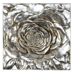 For distinctively different wall decor, Z Gallerie has designed our exclusive Peony plaque to give a refreshingly unique artistic appeal to a room. The plaque is molded in the shape of an oversized Peony blossom, with deep three-dimensional detailing, and is finished with sophisticated Silver metallic leaf. Measures 13 inches square by 1.5 inches deep and is easy to mount with a fitting on the back. Use in pairs or multiples and combine with our Silver Dahlia plaque.
