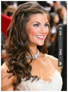 Wedding Hairstyles For Long Hair Wedding Down Dos For Long Hair - her make up is terrible, but like the idea of the simple twist and curls Classic Wedding Hair, Long Hair Wedding Styles, Wedding Hair Flowers, Wedding Hair And Makeup, Long Hair Styles, Trendy Wedding, Wedding Down Dos, Wedding Simple, Elegant Wedding
