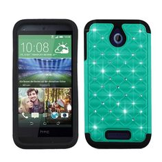 Phone Case for HTC Desire 512 Crystal-teal-black Silicone Hybrid Cover for Virgin Mobile HTC Desire 510
