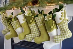 For Maria - Set of 6 Houndstooth Lime and Coconut Designer Christmas Stockings PLUS a matching tree skirt