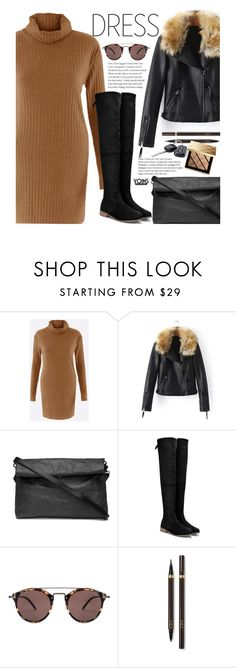 """""""Yoins Winter Dresses Under $100"""" by beebeely-look ❤ liked on Polyvore featuring Oliver Peoples, Tom Ford, Burberry, StreetStyle, under100, fauxfur, OverTheKneeBoots and yoinscollection"""