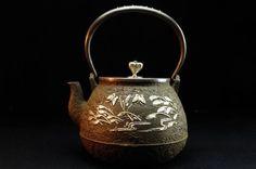 Ryubun-do Japanese Antique cast Iron tea kettle teapot chagama tetsubin #2384 #Ryubundo
